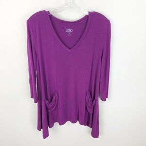 Logo Lori Goldstein Tunic Shirt Purple Pockets